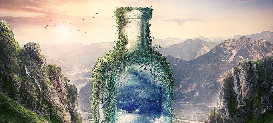 2017最新注册送白菜网合成山谷中爬满藤蔓的瓶子