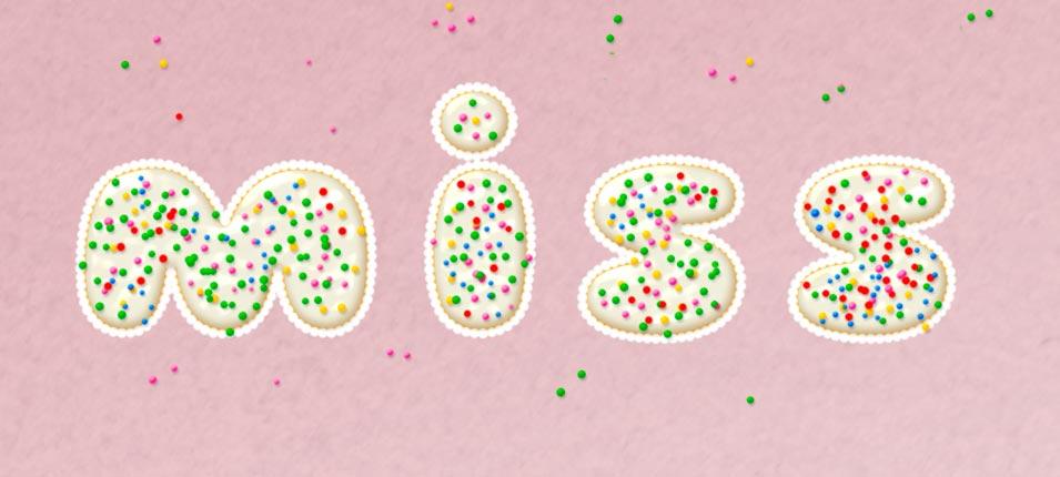 2017最新注册送白菜网绘制撒着糖豆的美味饼干字