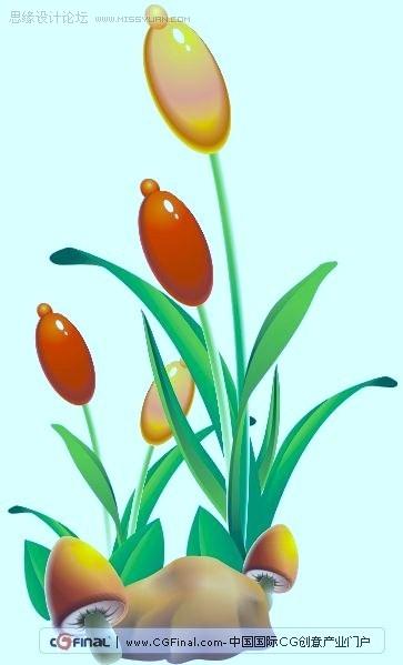 coreldraw绘制可爱的卡通蘑菇与花朵