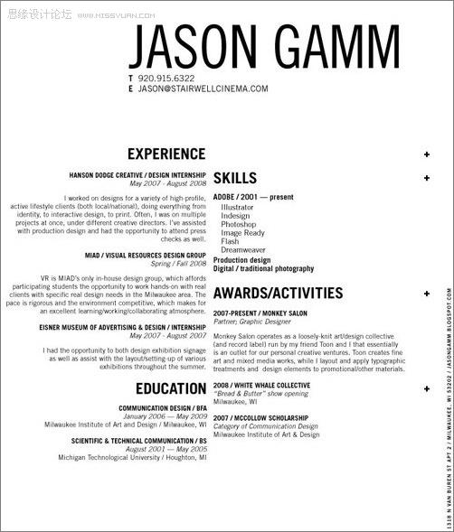 50款不同风格的国外设计师简历范本欣赏(6) - 思缘教程网 - 专业的设计教程网