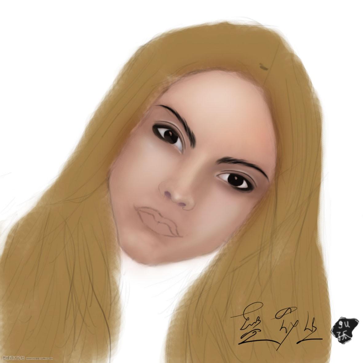 painter绘制一张可爱女孩头像