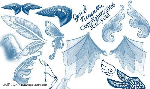 天使翅膀笔刷 - photoshop笔刷免费下载