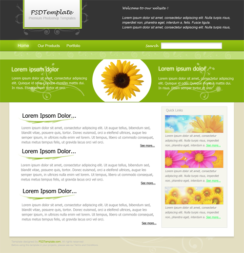 photoshop设计绿色调风格网页模板 - ps转载教程区