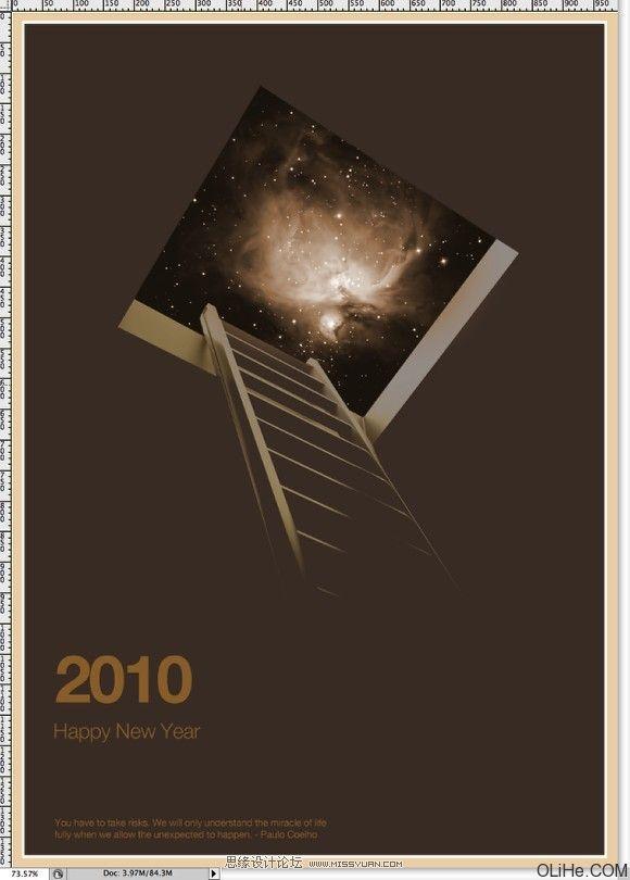 """步骤11 去图像>调整>色相和饱和度。减少色相到30,饱和度至30,增加亮度到13。也可以选择上色。参考下面的图像。  步骤12 现在,让我们添加一些文本。我添加的是2010,用的Helvetica Neue Bold字体,大小107pt,颜色使用了棕色(9e7539)。在2010年下方我还使用Helvetica Neue Light字体添加了""""新年快乐"""",大小33pt,同样使用褐色。"""