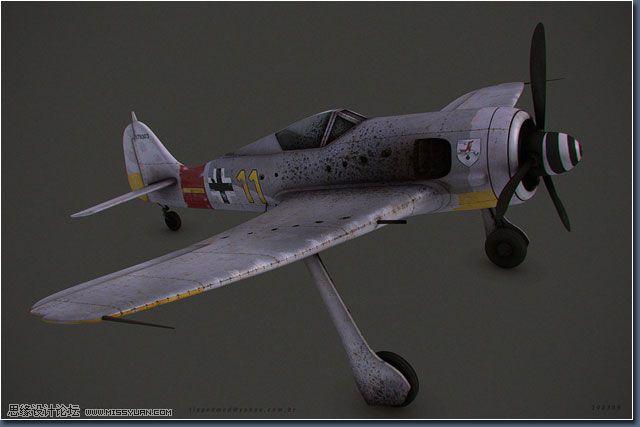 纹理: 纹理全部都是在 Photoshop 里完成的,利用了绘制技术以及图像纹理的组合(插图11以及插图12)。   飞机的材质可以在插图13中看到。  这里是飞机的渲染测试(插图14)。  最终场景的组装: 飞机和场景准备好了,是时候把它们放在一起了,并且为了这个目的我破坏了飞机。我选择手动来处理,分离元素,然后破碎并撕开机身。 我使用了 Editable Poly 的 Cut(裁剪)工具在可能的地方分开网格从而撕开了机身。 飞机的主体零件需要被拉开,并且已经进行了区分,这是通过多边形选择然后使用 De