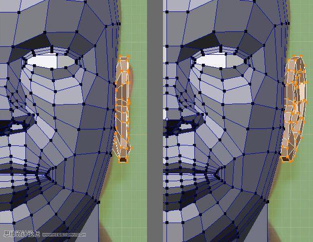 "A,选择6个高亮的点 B / C.把它们朝内挤出,并缩小一点 D. 挤出这个环,来创建耳管部分  按照下面的图示来完成耳朵的形状  挤出并缩小选择的面来创建耳珠结构  把选择的边朝外移动一点,来制作出耳垂的膨胀效果  如果你启动了多边形细分模式,你可以观察到你的模型是否在某些地方太尖锐了,如果是的,你可以使用类似Blender的""sculpt mode""(雕刻模式)下的""smooth brush""(平滑笔刷)功能来让你的模型松弛一下。  选择高亮的面并删除它"