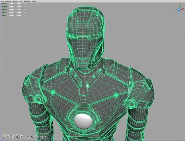maya人物建模三视图 maya建模教程 打造超级英雄钢铁侠 高清图片