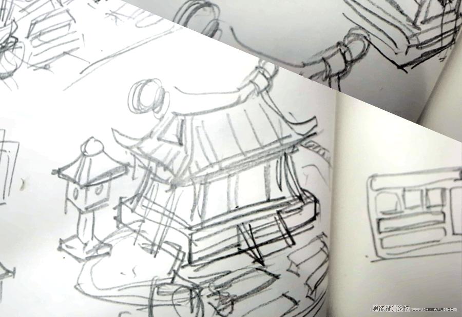 建筑q版手绘