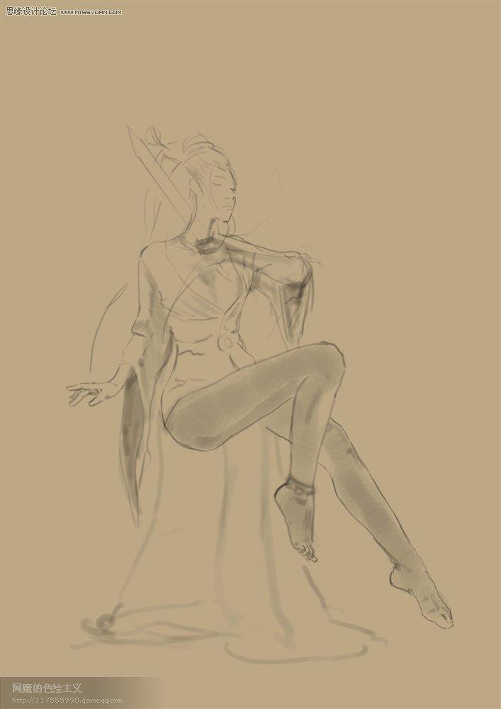 女英雄虞姬手绘