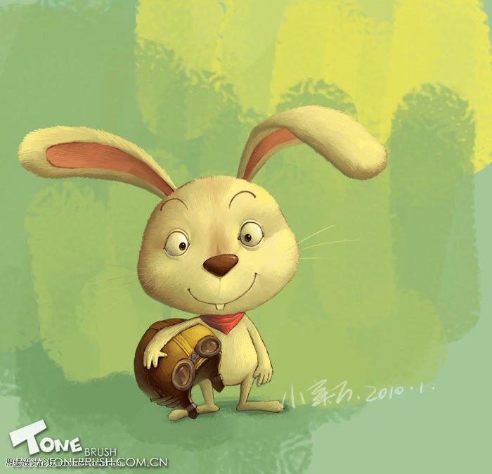 photoshop绘制森林里辛勤工作的小兔子图片