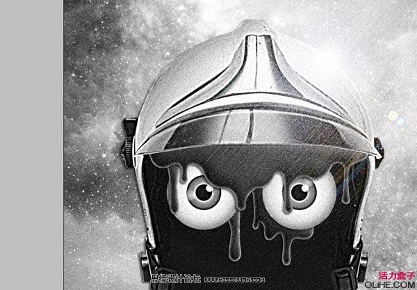 oshop合成一幅戴着宇航盔的未来怀旧插画