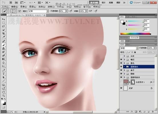 photoshopcg人物精绘技法:人物鼻子,嘴唇和眉毛的绘制图片