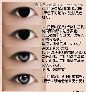 眼睛部分转手绘教程:;