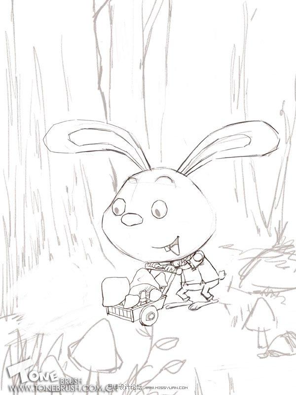 photoshop绘制森林里辛勤工作的小兔子