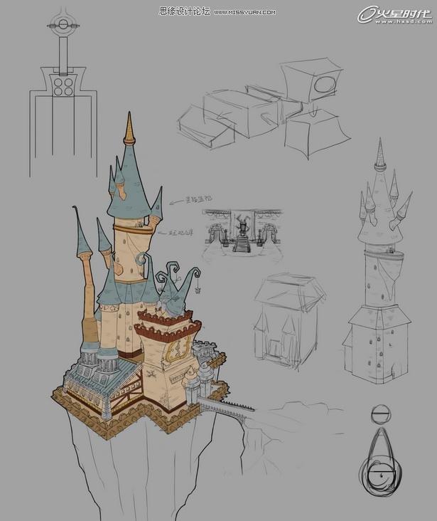 魔幻城堡手绘图