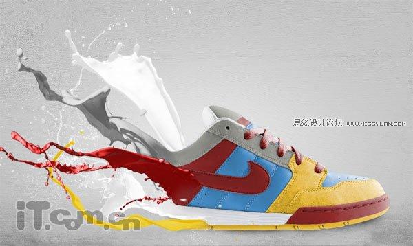 艺术 photoshop/[PS设计] Photoshop设计创意十足的耐克球鞋广告