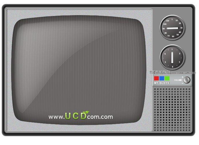 photoshop制作矢量风格的黑白电视机