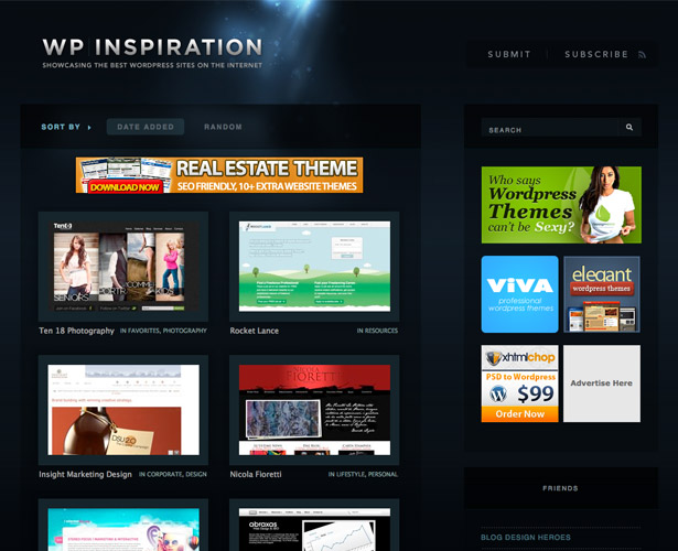 wp inspiration is a gallery of more than 200 wordpress-powere