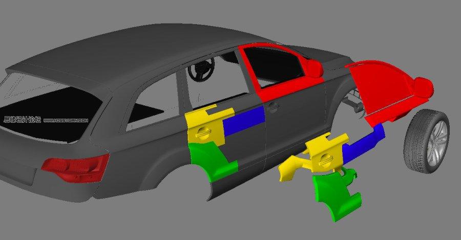 拆分汽车外壳 把拆分的外壳对位角色身体 同样的,把汽车侧面的部分