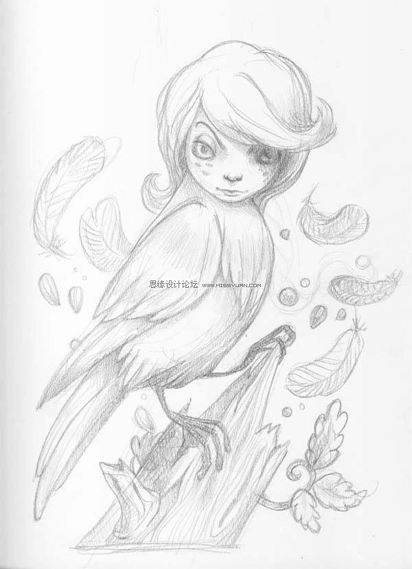 可爱的小鸟 素描