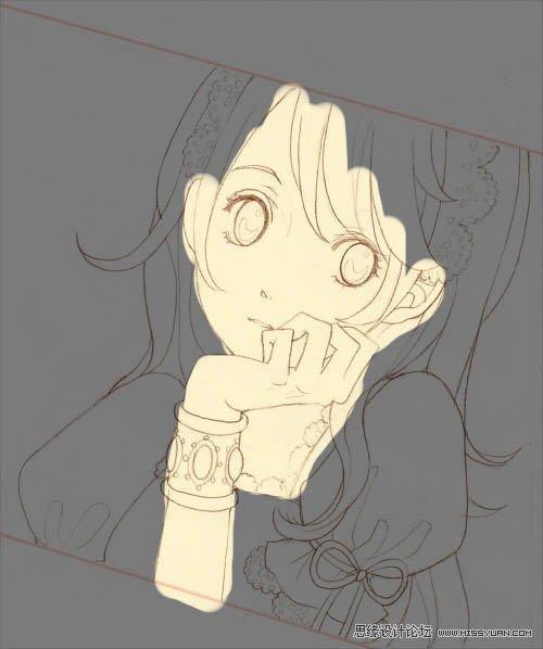 铅笔线稿导入ps中绘画一幅可爱卡通女孩图片; ps手绘可爱的粉色大眼