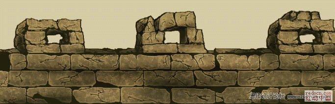 """10、确保当前使用层为""""图层1""""下面我们使用""""CTRL+SHIFT+I""""反选,以选中城墙。然后选择""""编辑合并拷贝(CTRL+SHIFT+C)""""接着""""CTRL+V""""得到有填充的城墙""""图层3""""。最后图层排列如图。  11、确保当前图层为""""图层3""""并选中""""锁定透明区域""""。  12、选择""""滤镜杂色添加杂色."""