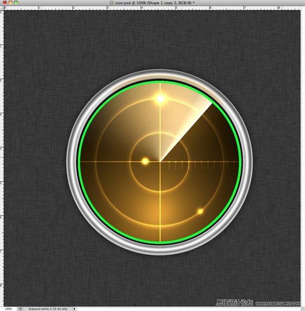 Photoshop转载教程质感的雷达图标-绘制还是室内设计用砖好金属木地板好图片