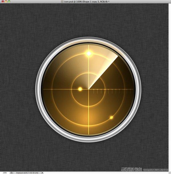 photoshop转载教程金属的雷达图标-绘制质感excel线粗怎么绘制图片