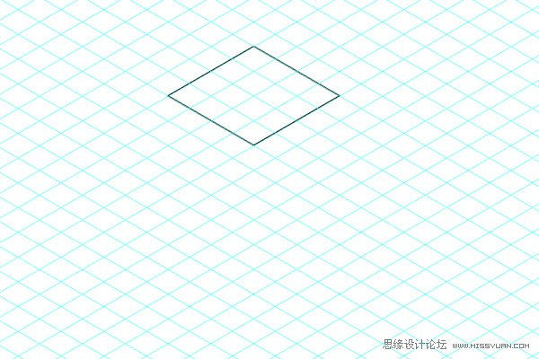 Step 8 使用钢笔工具,用上述同样的方法,绘制立方体的左面和右面。先快速地画一个大概的四边形形状,然后使用直接选择工具把四个角分别移到正方形网格的网格点上。在等角网格上绘制形状的时候,先想一想要画的对象:上方、左面、右面。这更有利于表现复杂的图形。