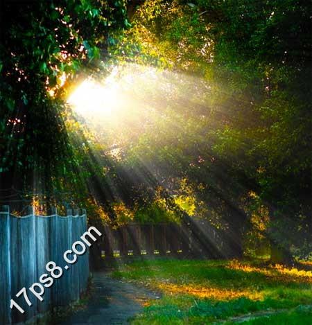 photoshop为风景照片添加阳光照射效果