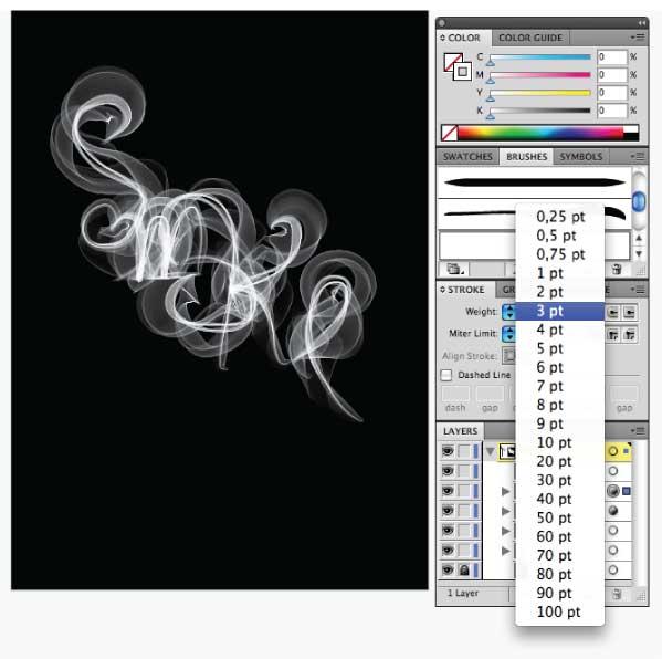 Illustrator CS4製作煙霧筆刷