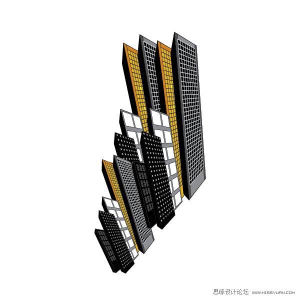Illustrator教學:繪製城市中的高樓大廈