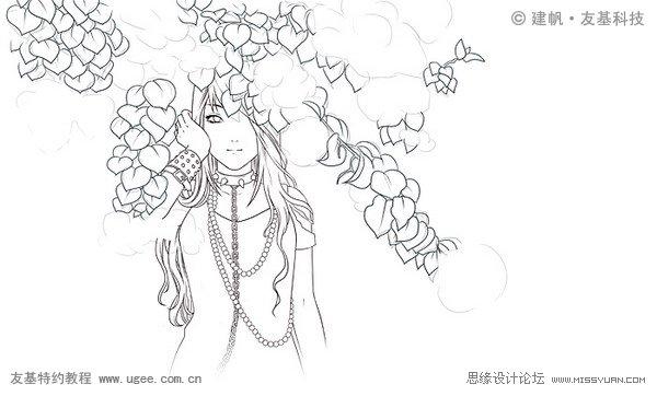 古装美女 手绘线描图
