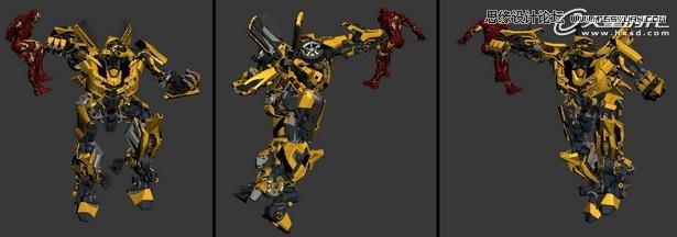 在选择过滤器中选中骨骼,这样就只可以选择场景中的骨骼物体了。选择所有骨骼点击右键,在对象属性中勾选显示为外框,使骨骼以外形形式显示,这是为了更方便的观察场景模型。(图14、图15)  图14(点击可看大图)  图15 添加绑定骨骼后就可以随便摆造型了。(图16)  图16 钢铁侠没有用到骨骼,而是直接使用的链接功能,这点在上一篇教程中讲过,这里就不做交代了。 动作设定 双方都是我非常喜欢的角色,所以我不想任何一方处于下风,于是就摆出了大黄蜂攻击钢铁侠躲闪的动作。(图17)  图17(点击可看大图) 为了表