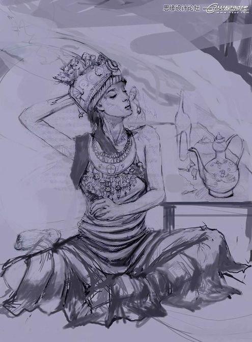 黑白铅笔动漫人物图片