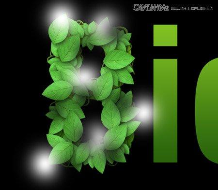 分别为叶藤添加绿色到深绿色的渐变叠加,光泽,斜面和浮雕和投影的图层