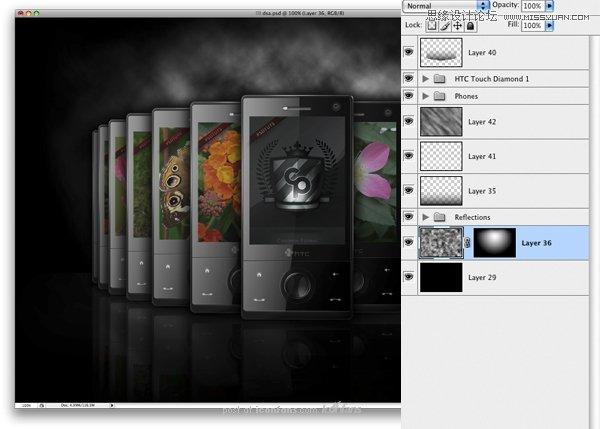 photoshop手绘htc手机宣传海报(12)