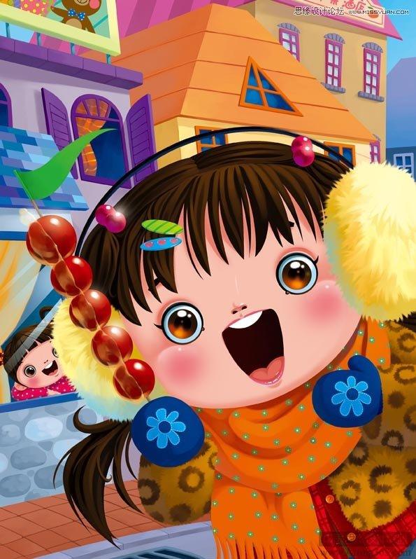photoshop绘制可爱的雪地里的小女孩儿童插画