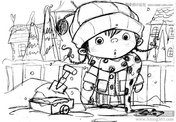 photoshop绘制雪地里的可爱的小女孩插画