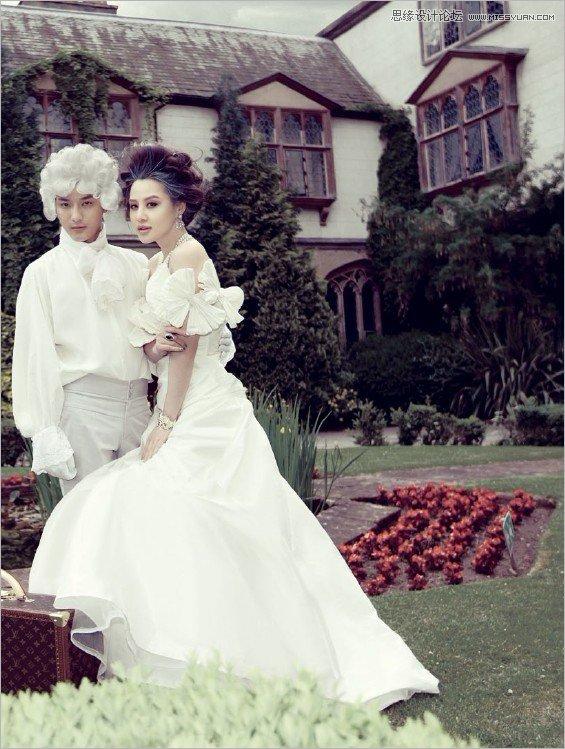 photoshop调出欧式复古的婚纱照效果