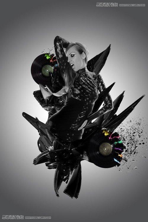 photoshop设计暗调金属质感舞者海报(3)