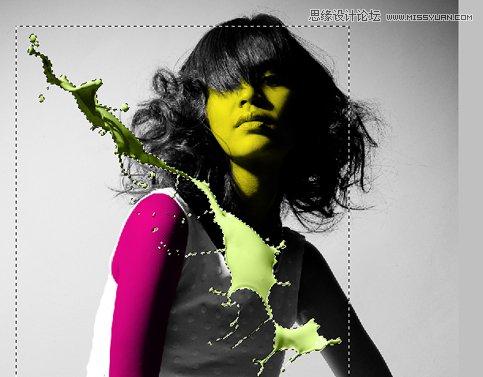 photoshop合成美女照片油漆喷溅海报效果