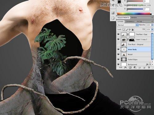 photoshop合成制作树根人体超自然蜕变场景(3)