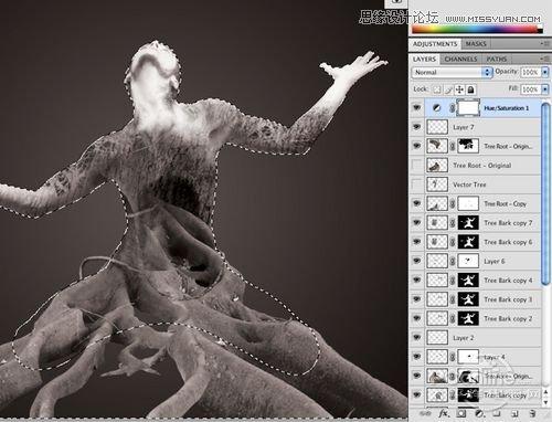 photoshop合成制作树根人体超自然蜕变场景(6)