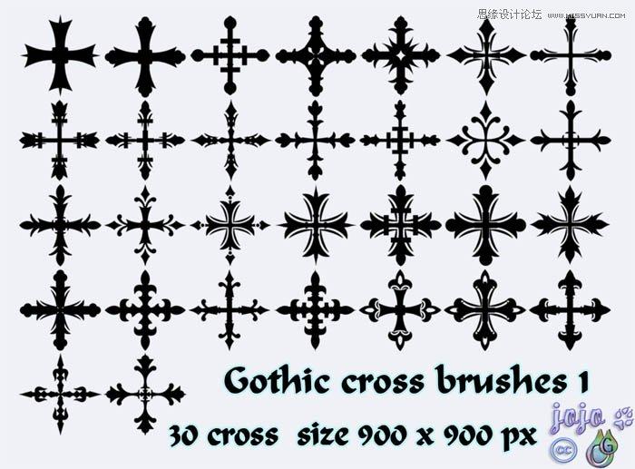 欧式十字架装饰花纹笔刷
