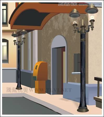 coreldraw绘制欧洲小镇中的街道场景