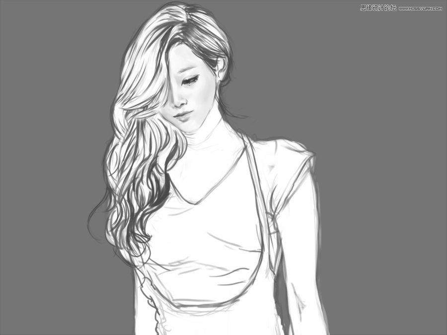shop简单讲解黑白风格的美女绘画 - 绘画教程和