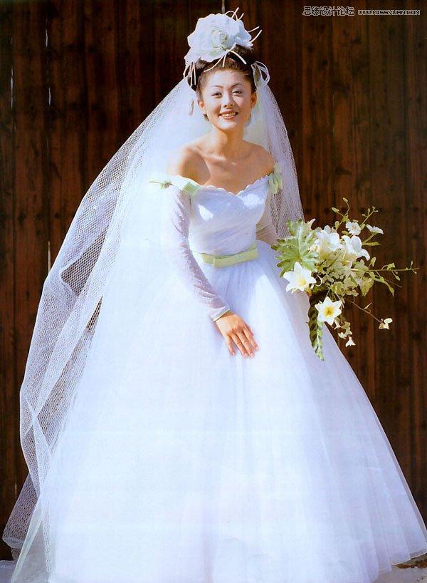Photohsop给室内婚纱老板外景抠图并合成美女甜美女照片的我景图片