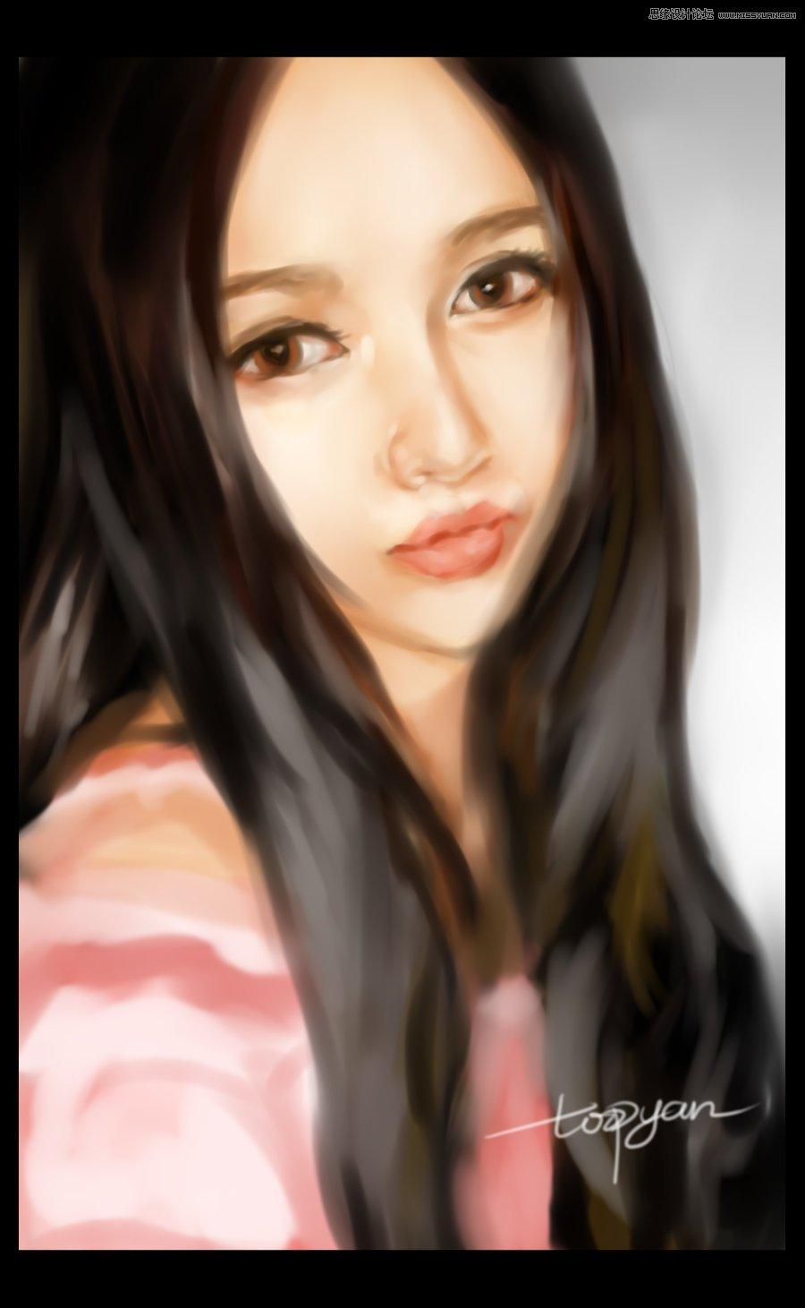 使用手绘板绘制甜美可爱的美女作品(4)