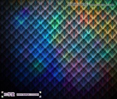 photoshop制作炫彩效果的菱形格子背景